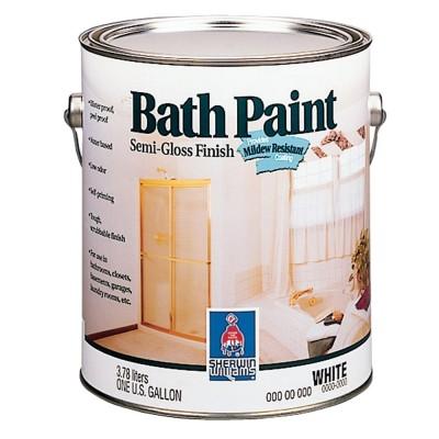 Краска SW BATHPAINT SatinFinish ExtraWhite/Интерьерная Латексная Сатин на основе винил-акрила для ванных комнат, Экстра Белая (3,78л.)