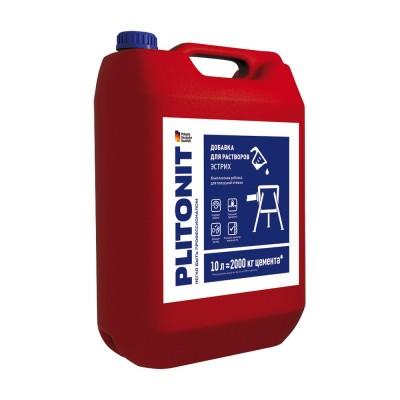 PLITONIT Эстрих -10 Добавка для повышения технологичности работ при нанесении, разравнивании и затирке полусухой стяжки с низким водоцементным соотнош