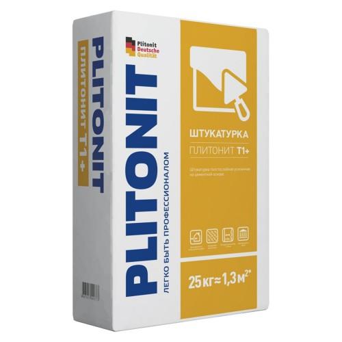 Штукатурная смесь цементная ПЛИТОНИТ Т1+ 25кг./толстослойная с армир.волокнами для выравнивания стен, универсальная (ПЛИТОНИТ)