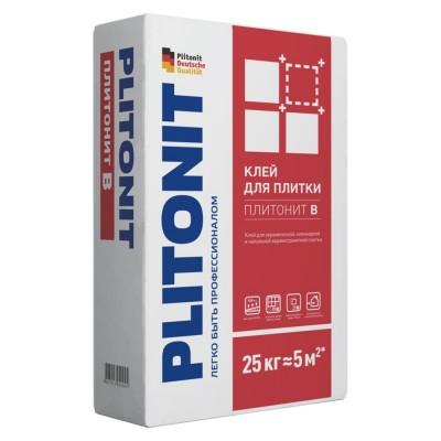 Клей ПЛИТОНИТ B для керамической плитки и напольной керамогранитной и клинкерной плитки, 25 кг, (Плитонит)