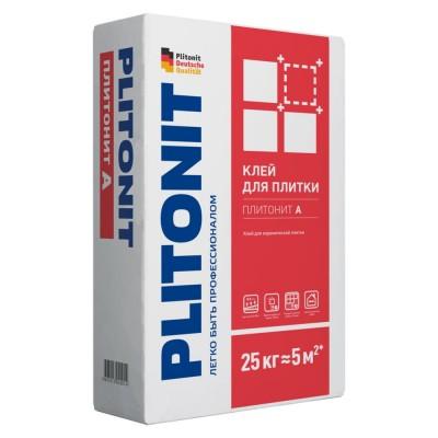 Клей ПЛИТОНИТ А Для керамической плитки для внутренних работ, рекомендован в качестве кладочного раствора, 25 кг